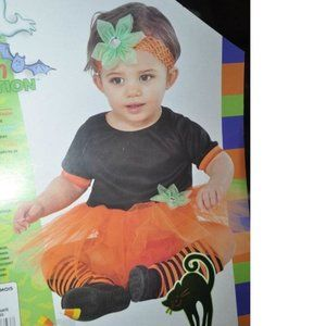 Girls 4 pc Halloween Pumpkin Tutu Dress Headband